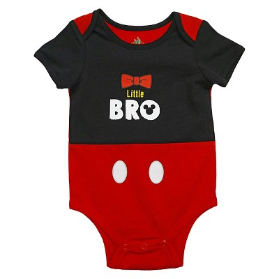 Mickey Mouse Baby Boys' Lil Bro Bodysuit - Black 0-3M