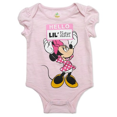 Minnie Mouse Baby Girls' Lil Sis Bodysuit - Pink 0-3M