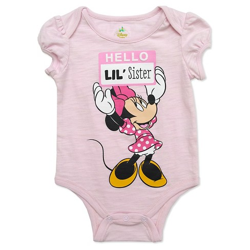 Minnie Mouse Baby Girls' Lil Sis Bodysuit - Pink - image 1 of 1