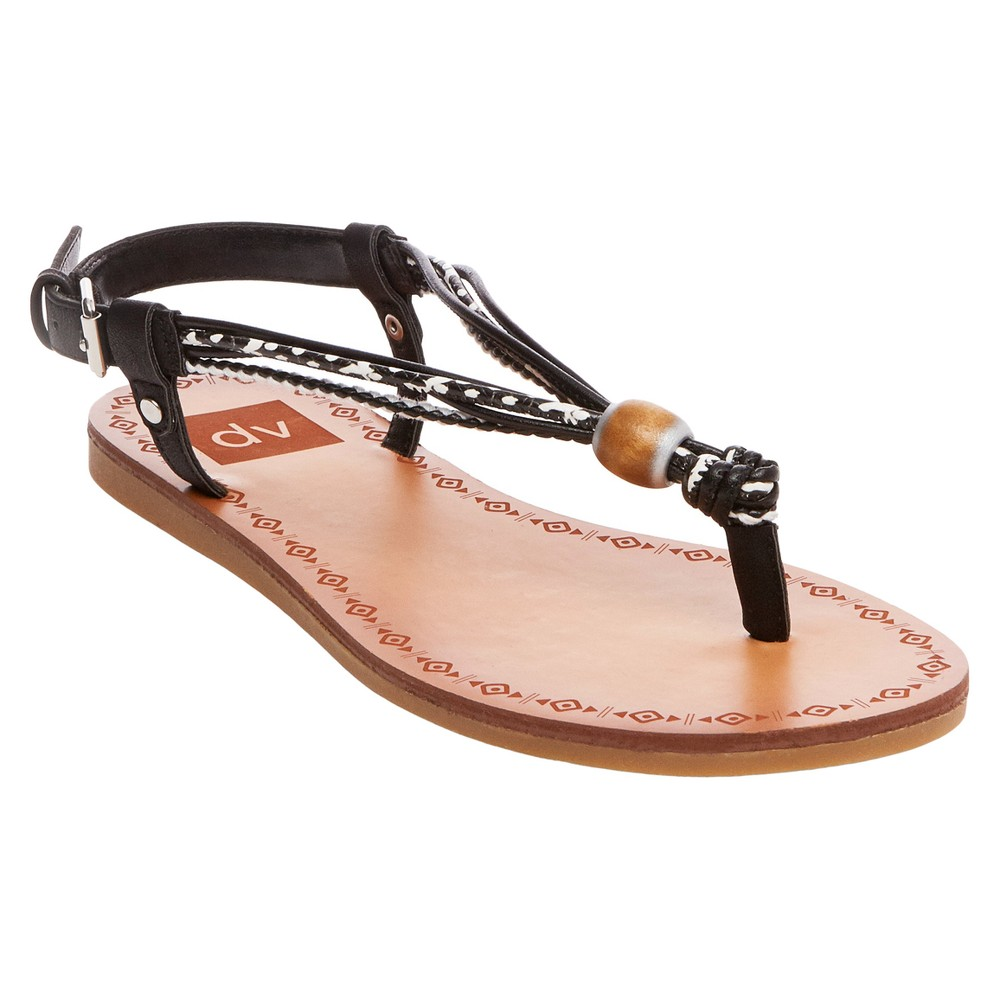 Womens dv Allison Wodden Bead Toe Thong Sandals - Black 10