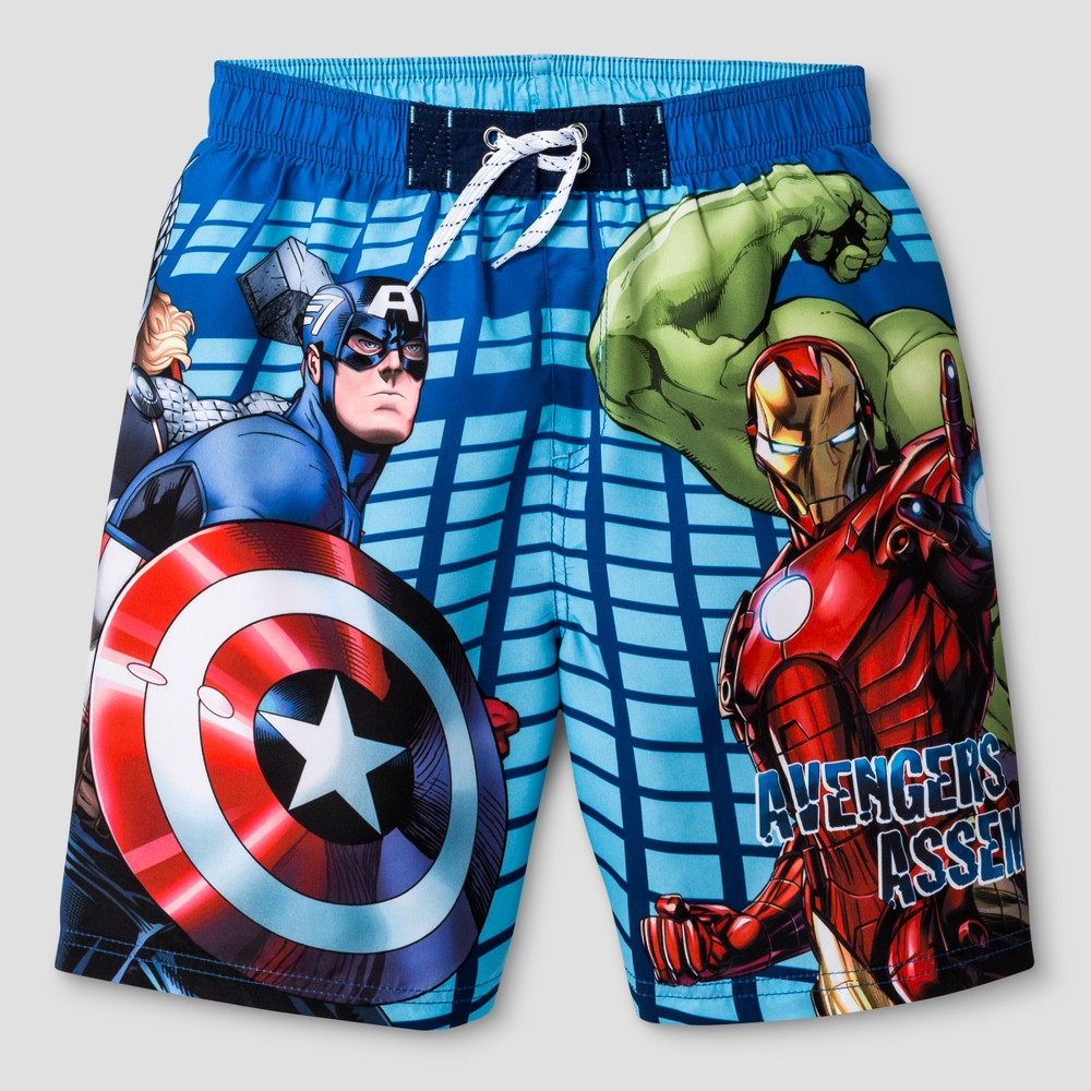 Boys Avengers/Iron Man Swim Trunk Blue/Red XS, Multicolored