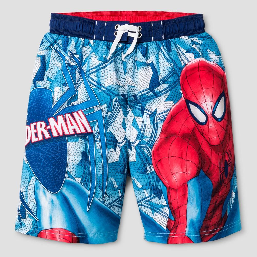 Boys Spider-Man Swim Trunk Lightblue/Red XS, Multicolored