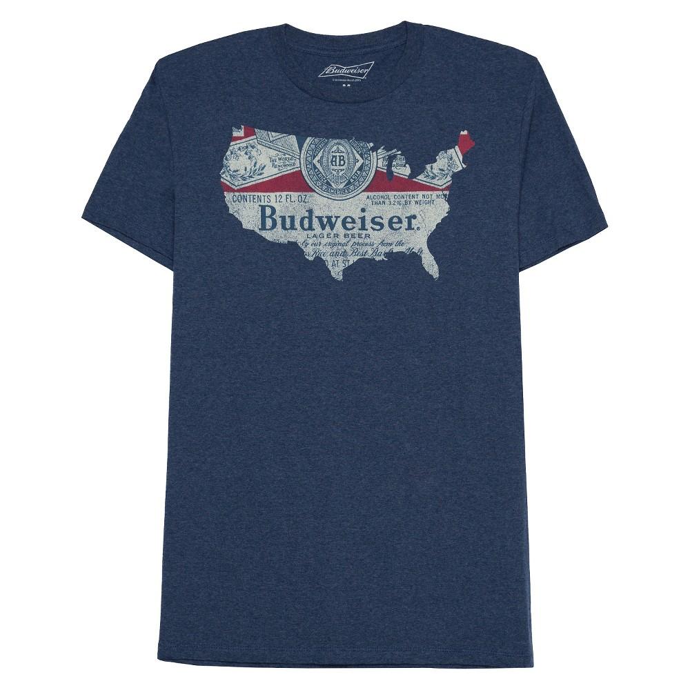 Mens Anheuser-Busch T-Shirt - Heathered Navy S, Blue