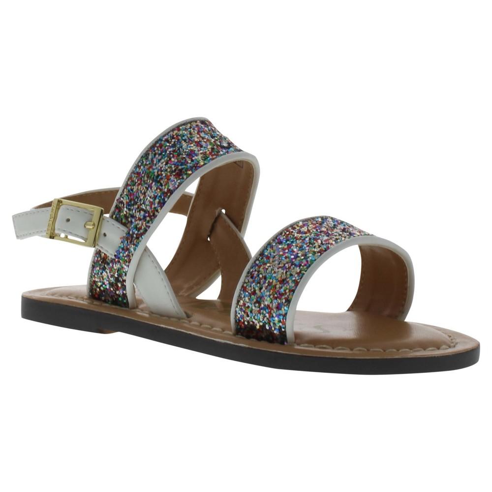 Girls Sam & Libby Nora Two Piece Glitter Quarter Strap Sandals - White 1