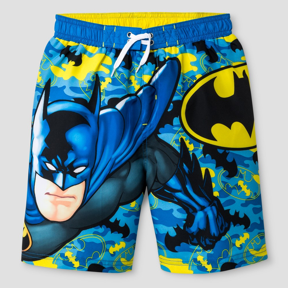 Boys Batman Swim Trunk Blue/Yellow XS, Multicolored