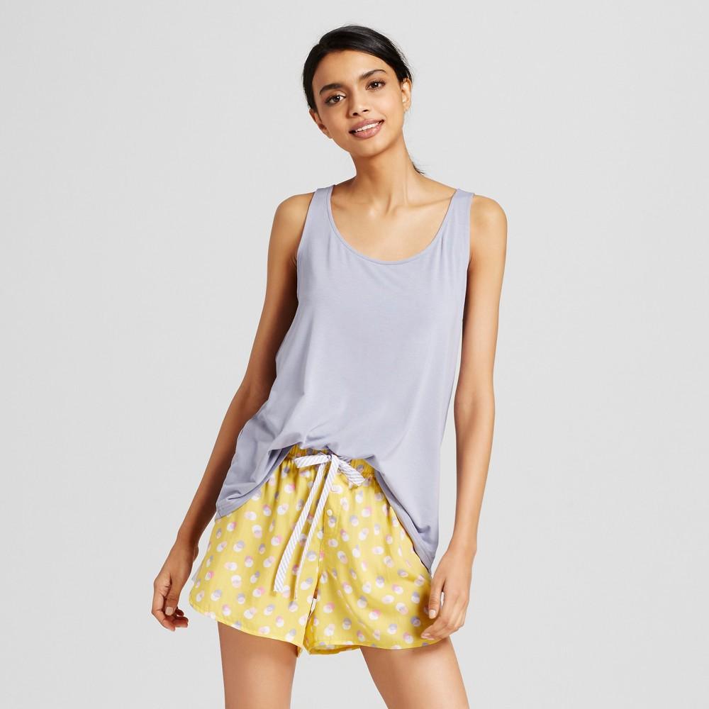 Womens Polka Dot Pajama Set Yellow L