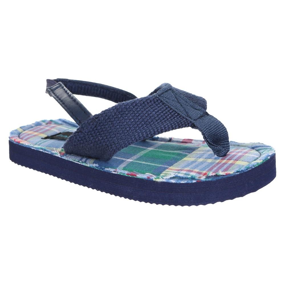 Toddler Boys Capelli Kids Rowan Plaid Flip Flop Sandals - Navy Combo 6/7, Size: 6-7, Blue