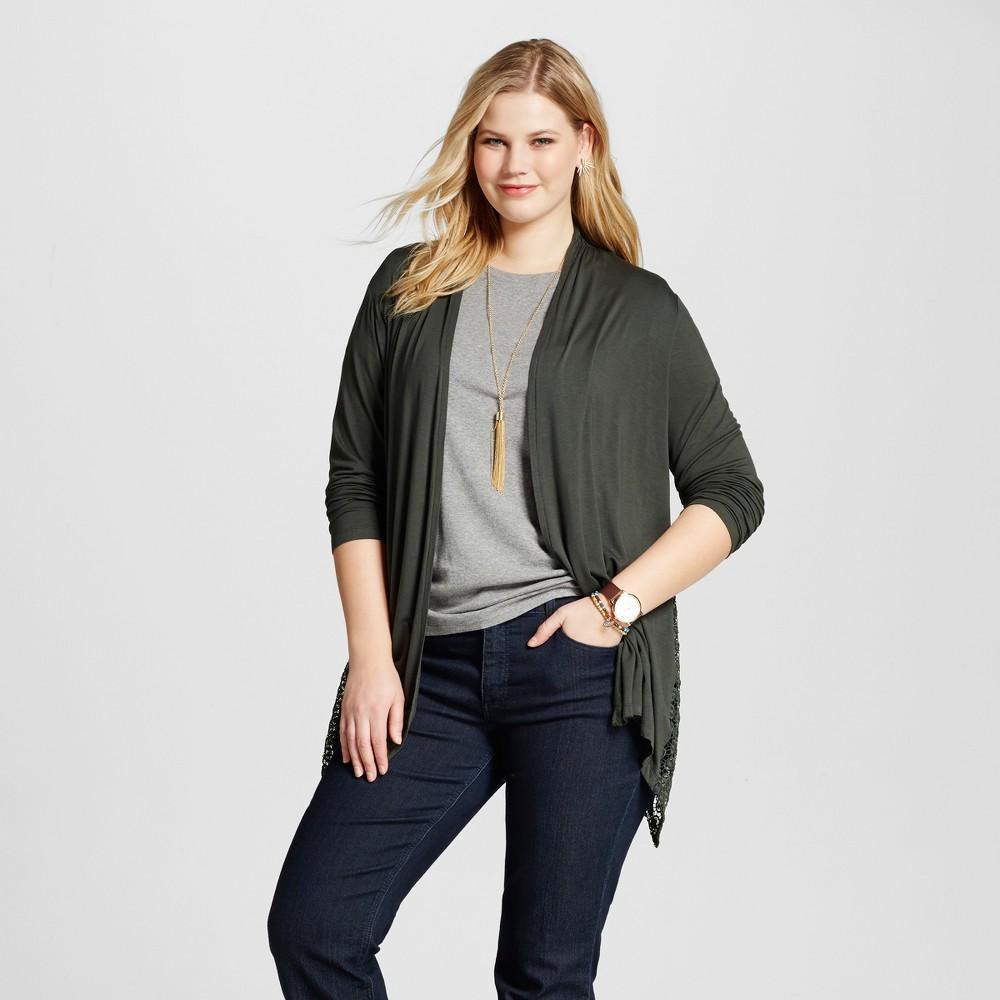 Women's Plus Size Lace Inset Knit Layering Top Green 1X – U-Knit