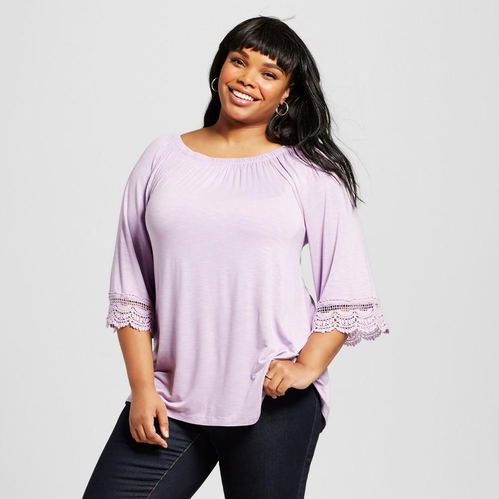Women's Plus Size Off the Shoulder Crochet Sleeve Top Purple 3X – U-Knit