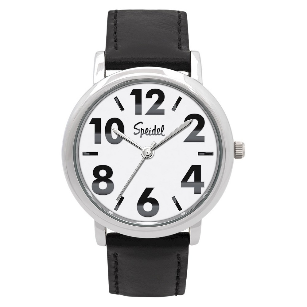 Speidel Bold Numbers MenS Leather Watch, Stainless Steel White Face - Black, Silver