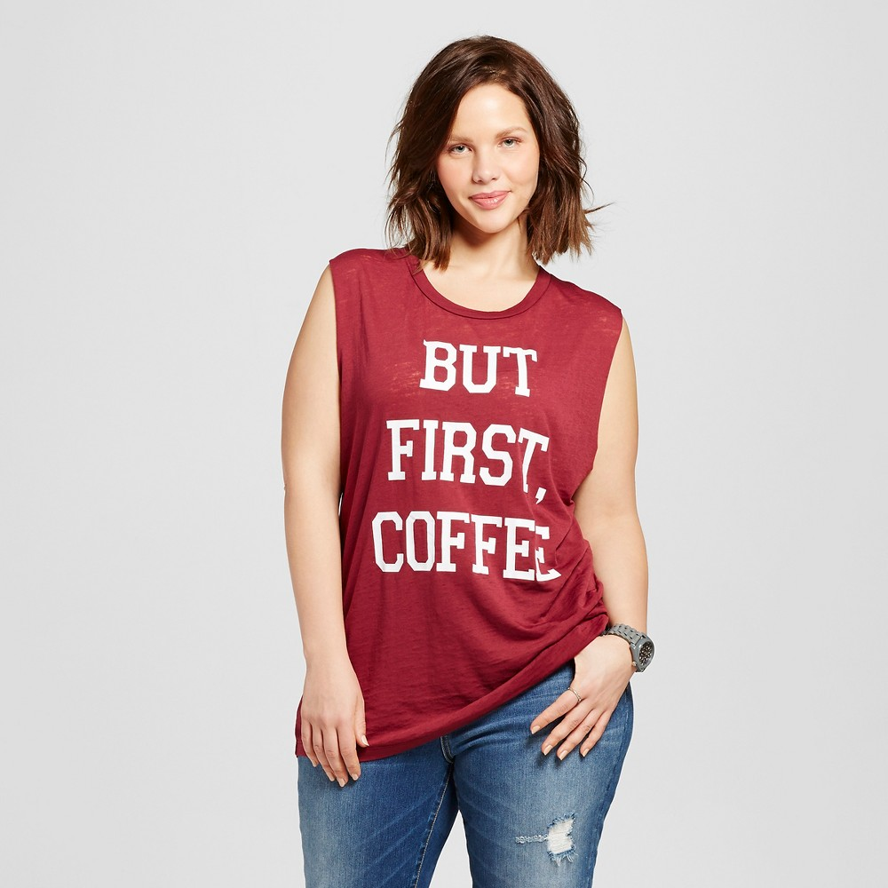 "Women's Plus Size ""But First, Coffee"" Graphic Muscle Tank Burgundy 3X – Fifth Sun (Juniors'), Red"