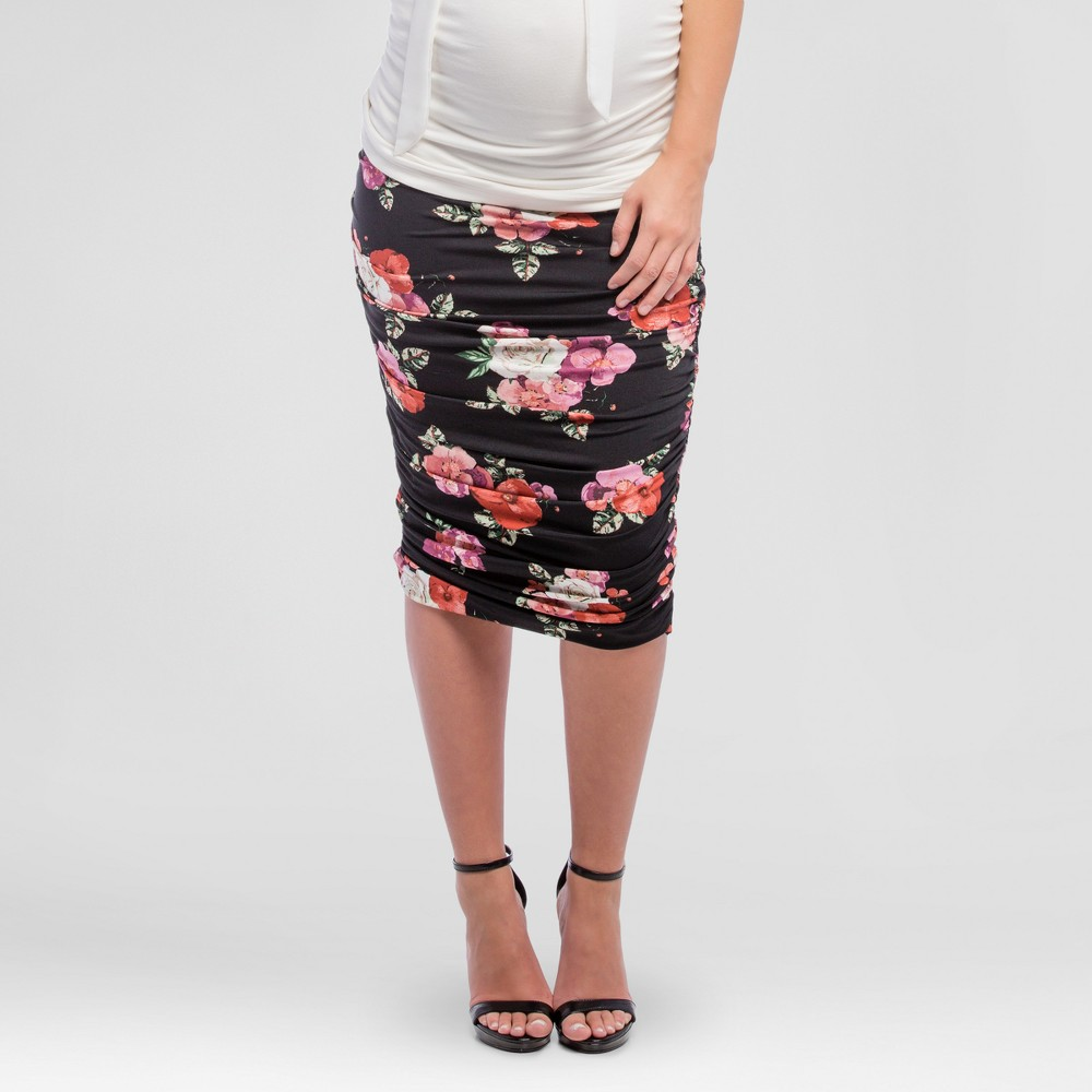Maternity Floral Print Ruched Midi Skirt Black XL – Expected by Lilac, Women's