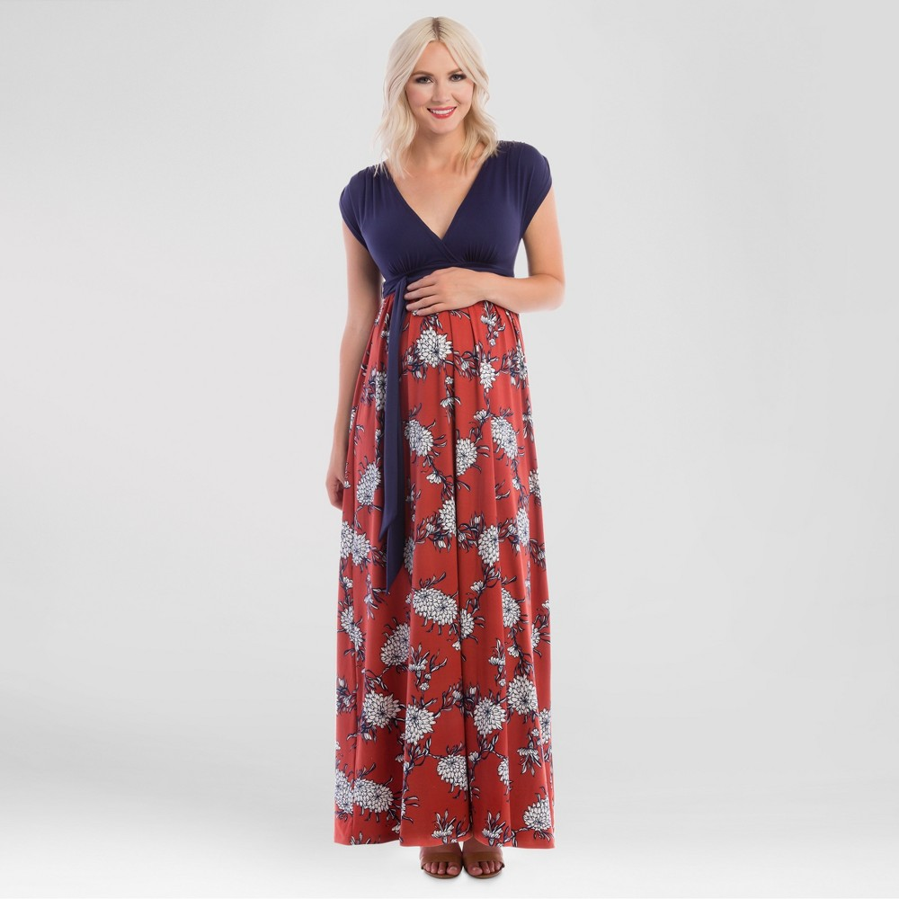 Maternity Floral Print Maxi Dress Blue S - Expected by Lilac, Womens, Brown Red