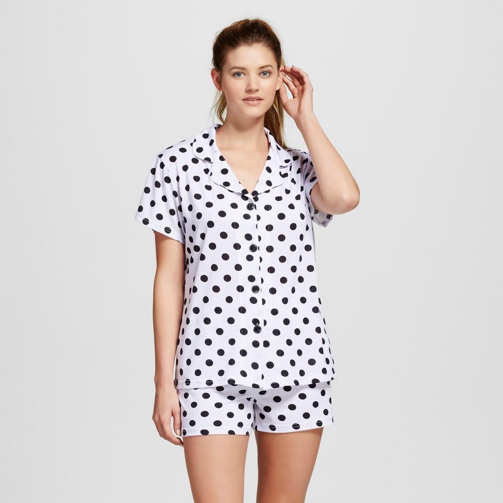 Bride & Beauties by Bedhead Pajamas Womens Notch Collar Classic Shorty Pajama Set - Polka Dot - White/Black XL