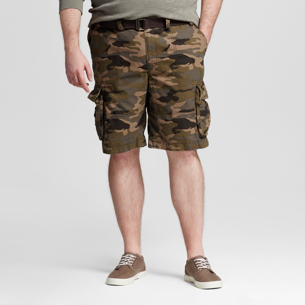 Mens Big & Tall Belted Flat Front Chino Shorts - Mossimo Supply Co. Camo (Green) 52