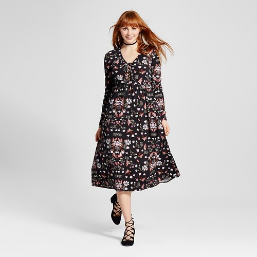 Women's Lace-up Midi Dress - Xhilaration (Juniors') Black XL