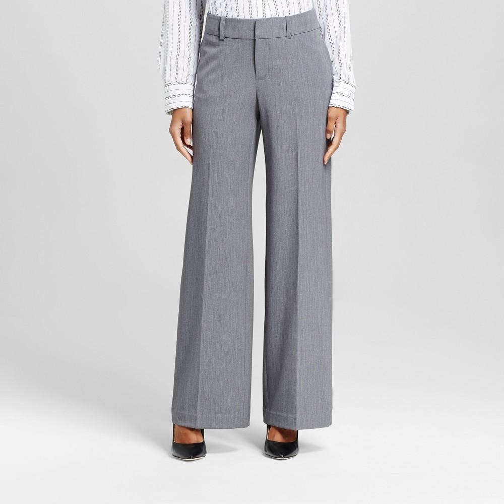 Womens Wide Leg Pants Heather Gray 2 -Merona, Light Gray