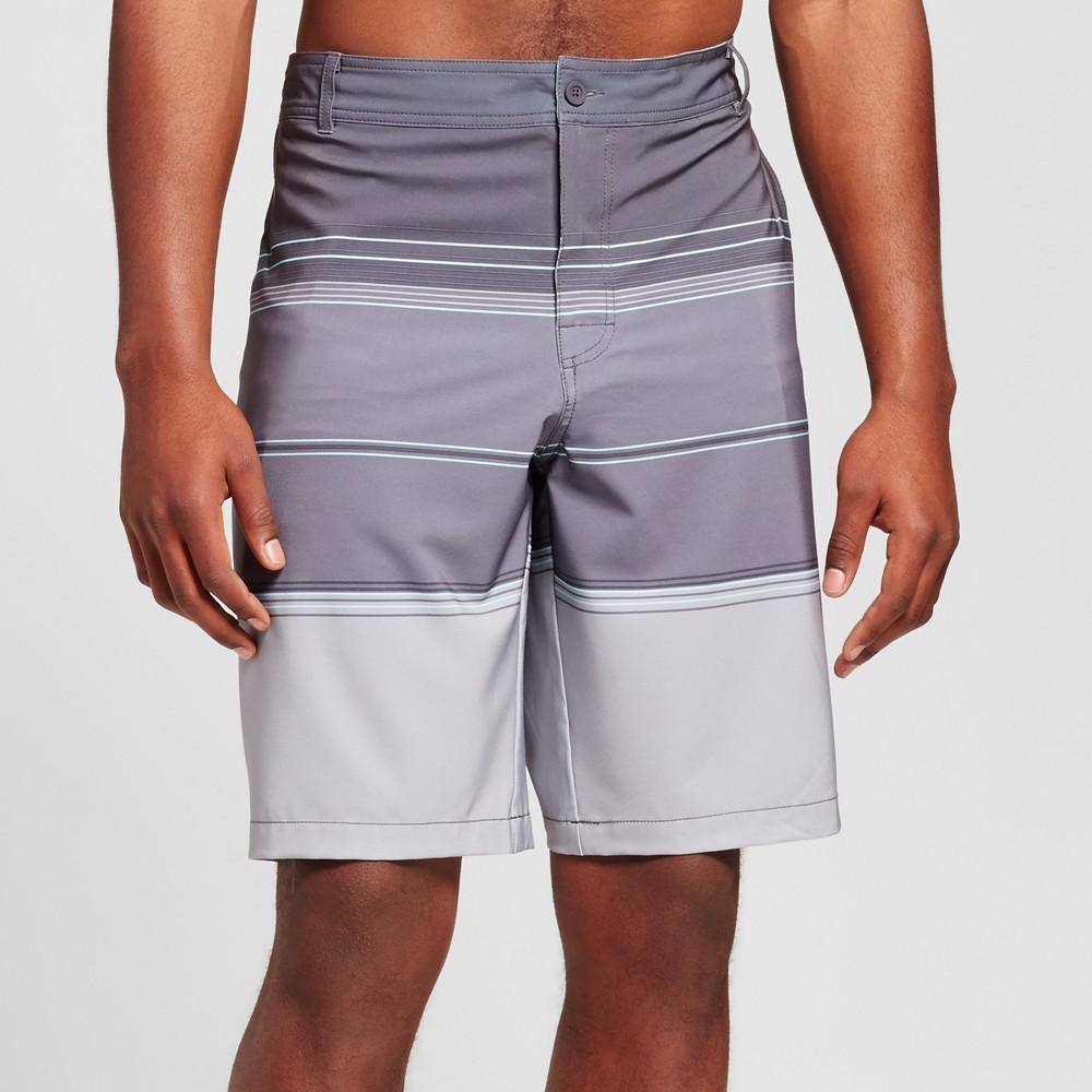 Mens Big & Tall Stripe Hybrid Swim Shorts - Mossimo Supply Co. Gray 50
