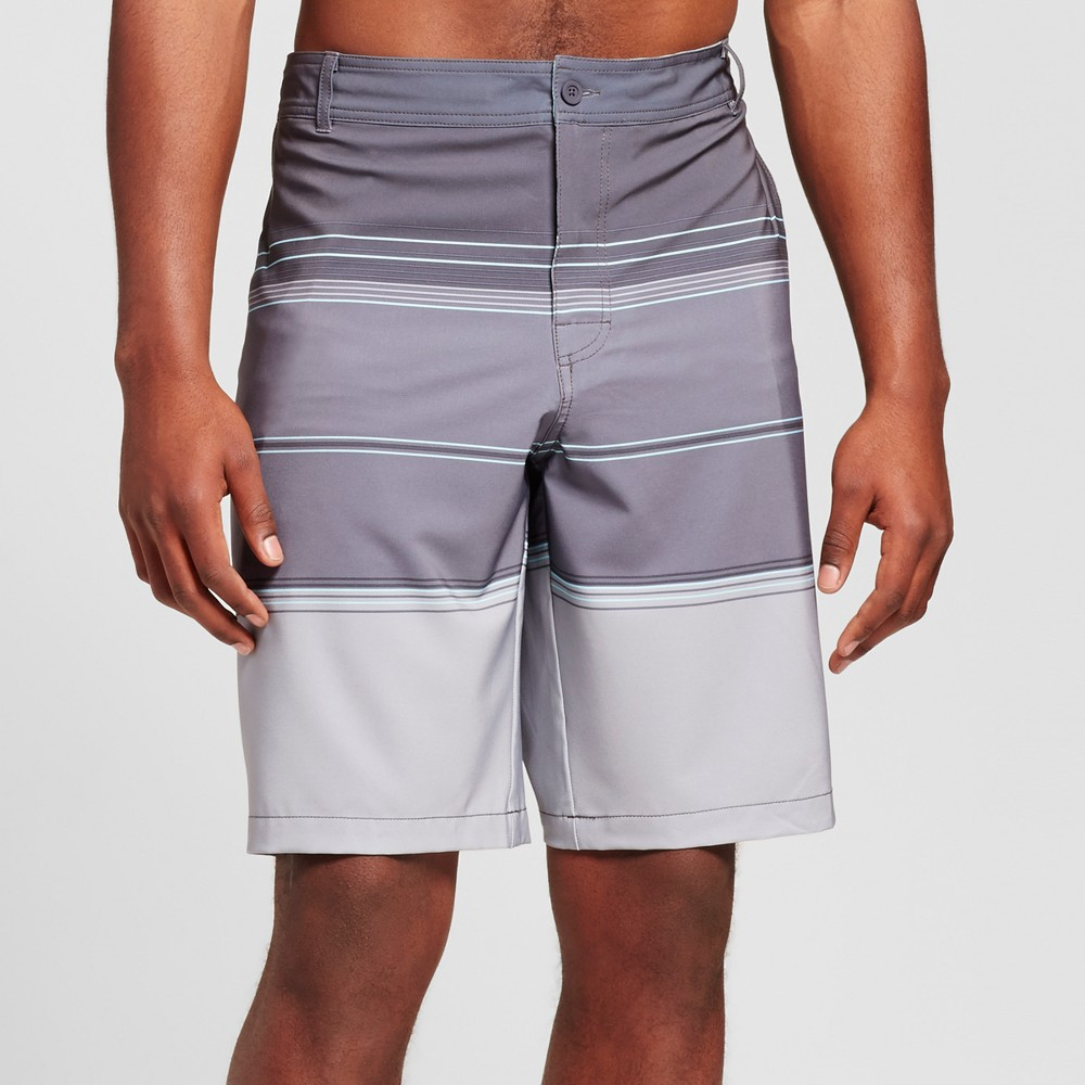 Mens Big & Tall Stripe Hybrid Swim Shorts - Mossimo Supply Co. Gray 54