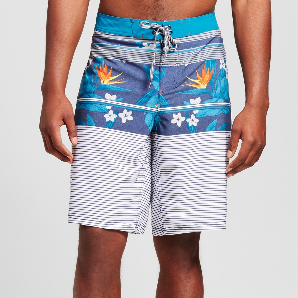 Mens Big & Tall Floral Board Shorts - Mossimo Supply Co. Blue 44