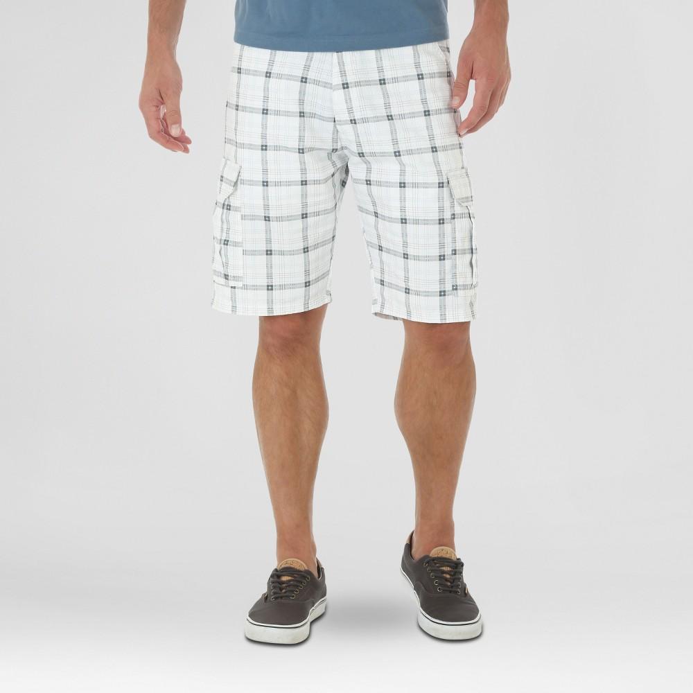 Wrangler Mens Twill Cargo Shorts - White Plaid 30