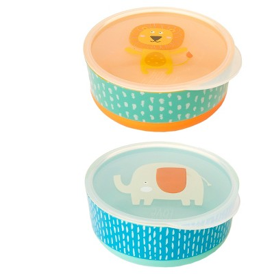Cheeky® Baby Bowls With Non-Slip Bottom - Lion & Elephant -2ct