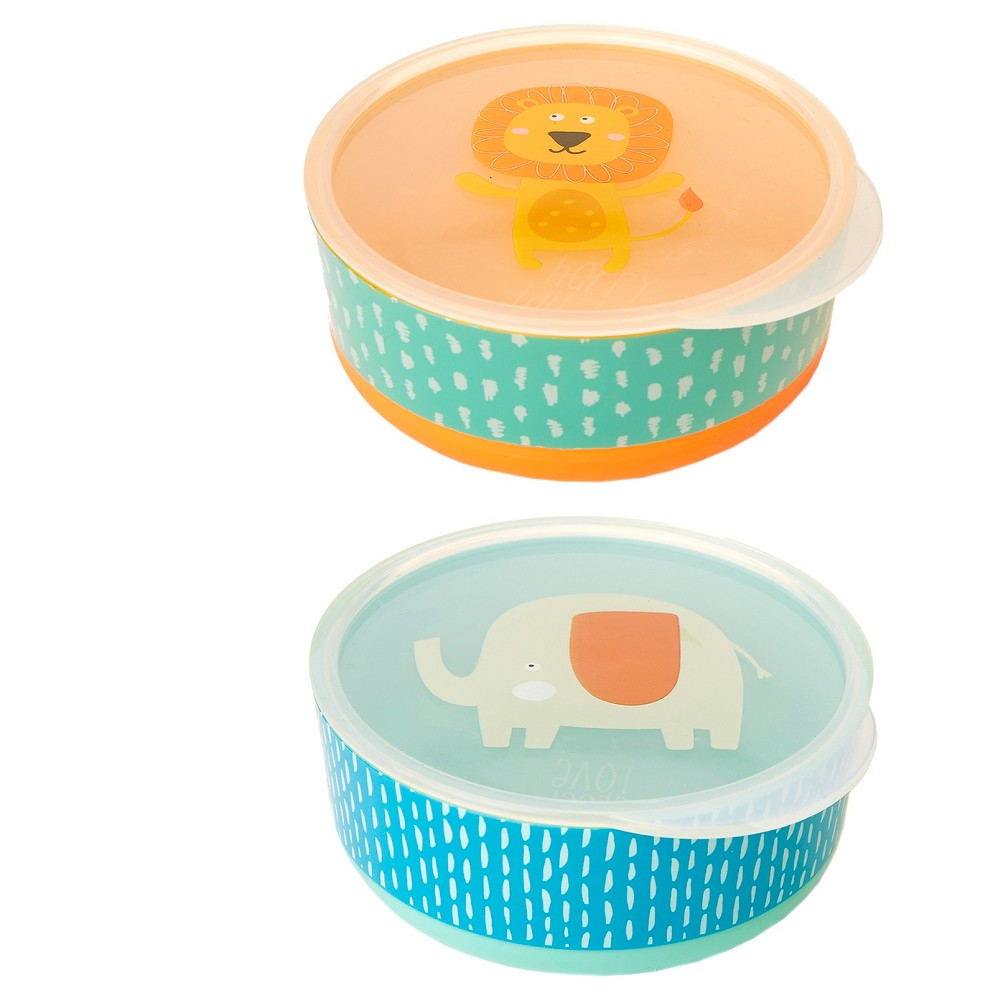 Cheeky Baby Bowls With Non-Slip Bottom - Lion & Elephant -2ct, Multi-Colored