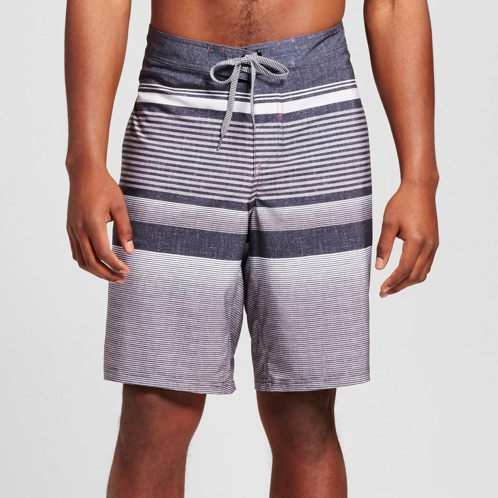 Mens Big & Tall Stripe Board Shorts - Mossimo Supply Co. Black 44