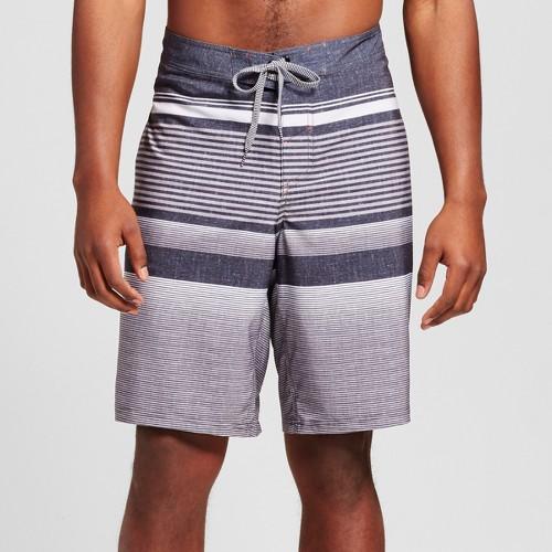 Men's Big & Tall Board Shorts Black Stripe 56 - Mossimo Supply Co.