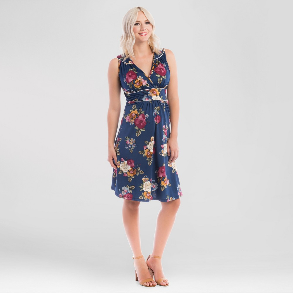 Maternity Floral Print Nursing Dress Blue Xxl – Expected by Lilac, Women's