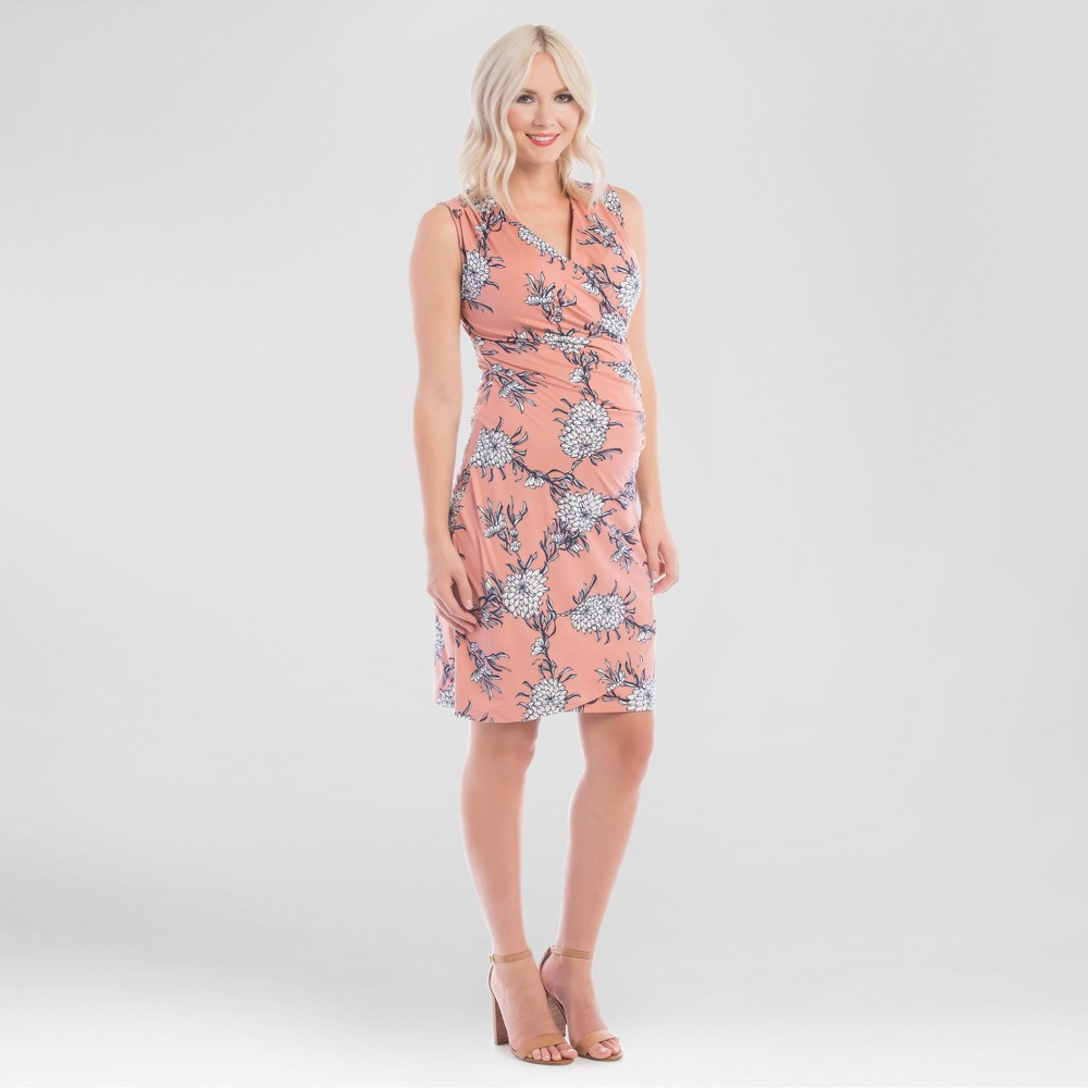 Maternity Faux Wrap Floral Nursing Dress Pink S – Expected by Lilac, Women's