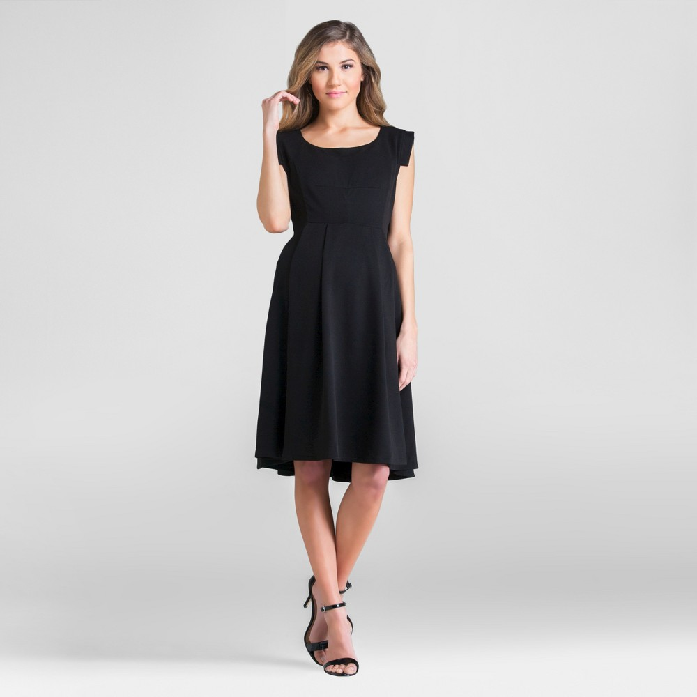 Maternity Scoop Neck Dress Black S - Expected by Lilac, Women's
