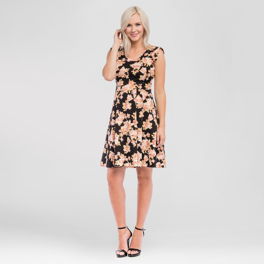 Maternity Floral Print Scoop Neck Dress Black L - Expected by Lilac, Womens