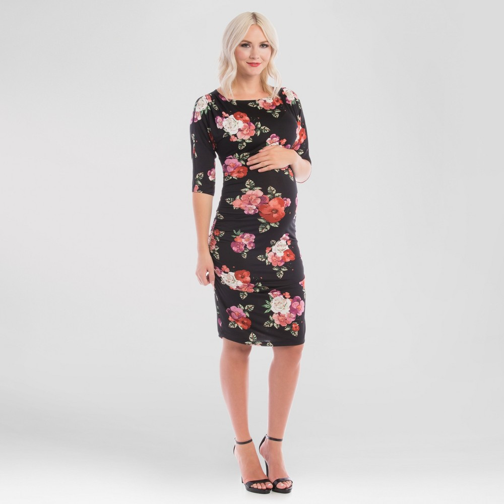 Maternity Floral Print Boatneck Midi Bodycon Dress Black L – Expected by Lilac, Women's