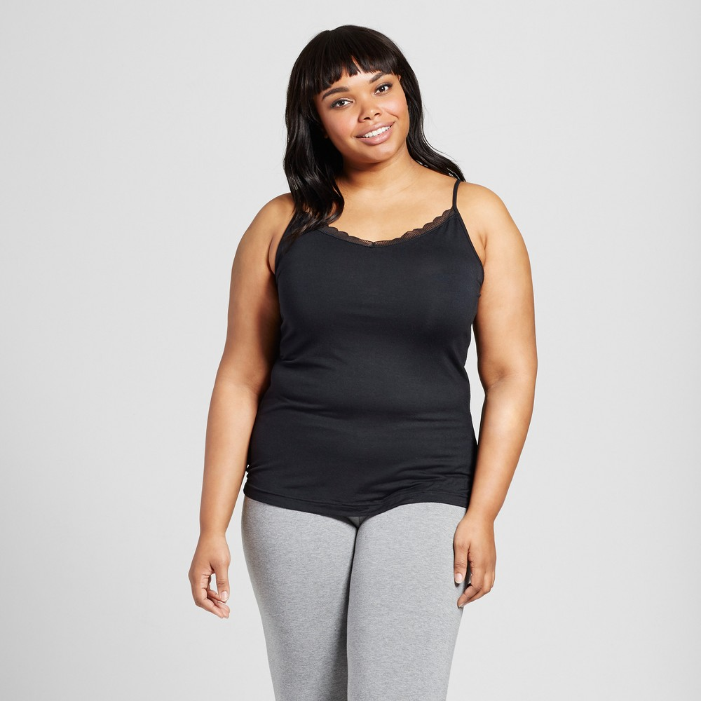 Womens Plus Size Sleep Camisoles - Black 3X