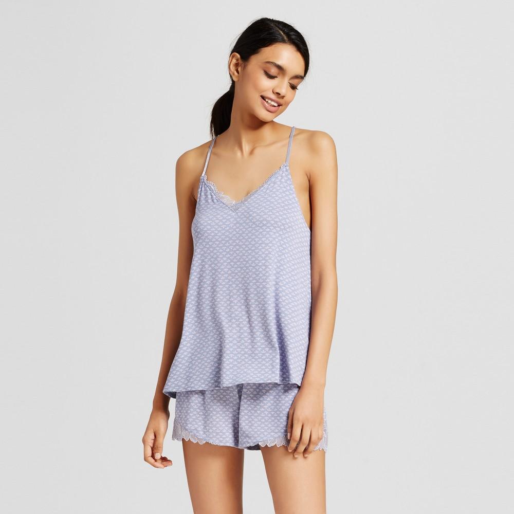 Womens Floral Pajama Set Blue XL