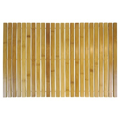 Bamboo Wood Step Out Bath Mat Tan - Ginsey