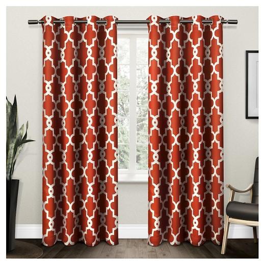 ironwork sateen woven room darkening window curtain panel pair mecca orange 52 x84. Black Bedroom Furniture Sets. Home Design Ideas