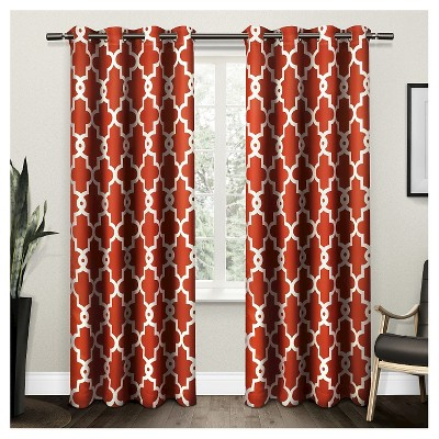 Ironwork Sateen Woven Room Darkening Window Curtain Panel Pair   Exclusive  Home™
