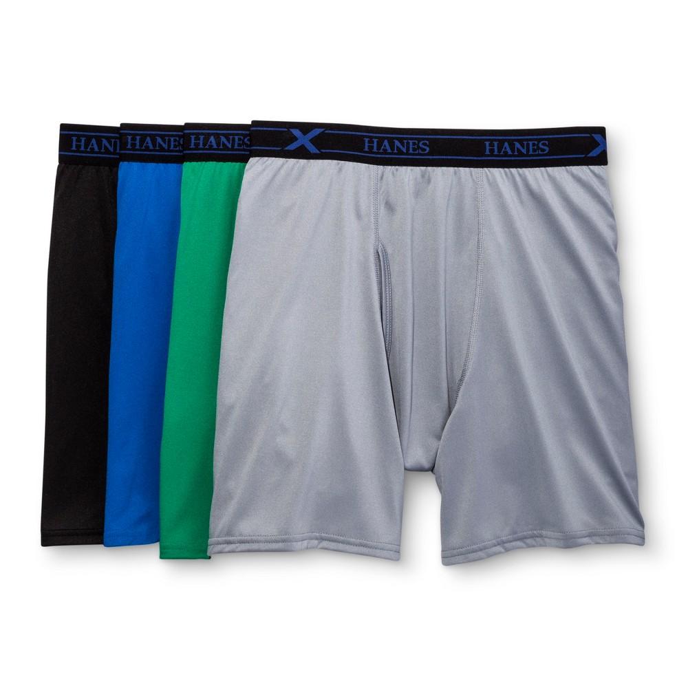 Hanes Mens 4pk Premium Boxer Briefs - Blue/Gray/Green M, Multicolored