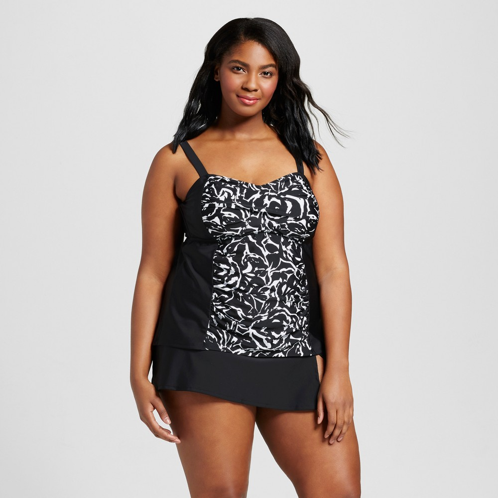 Womens Plus Size Twist Front Tankini - Ava & Viv Black/White 14W, Black/White Floral