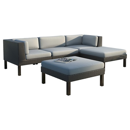 Corliving oakland 5 piece sofa with chaise lounge patio for Chaise lounge atlanta