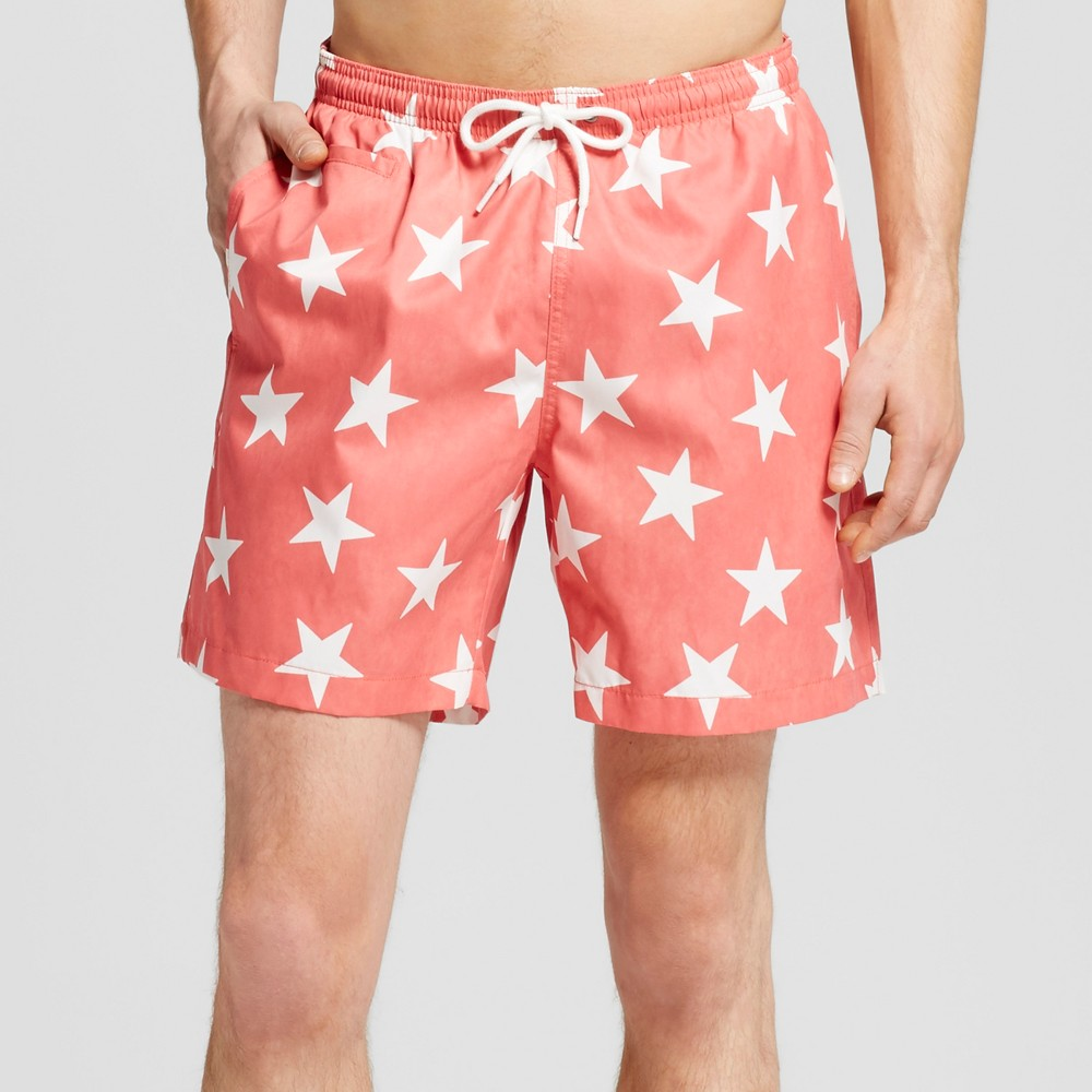 Mens Star Print Swim Trunks Coral (Pink) M - Trunks Surf & Swim
