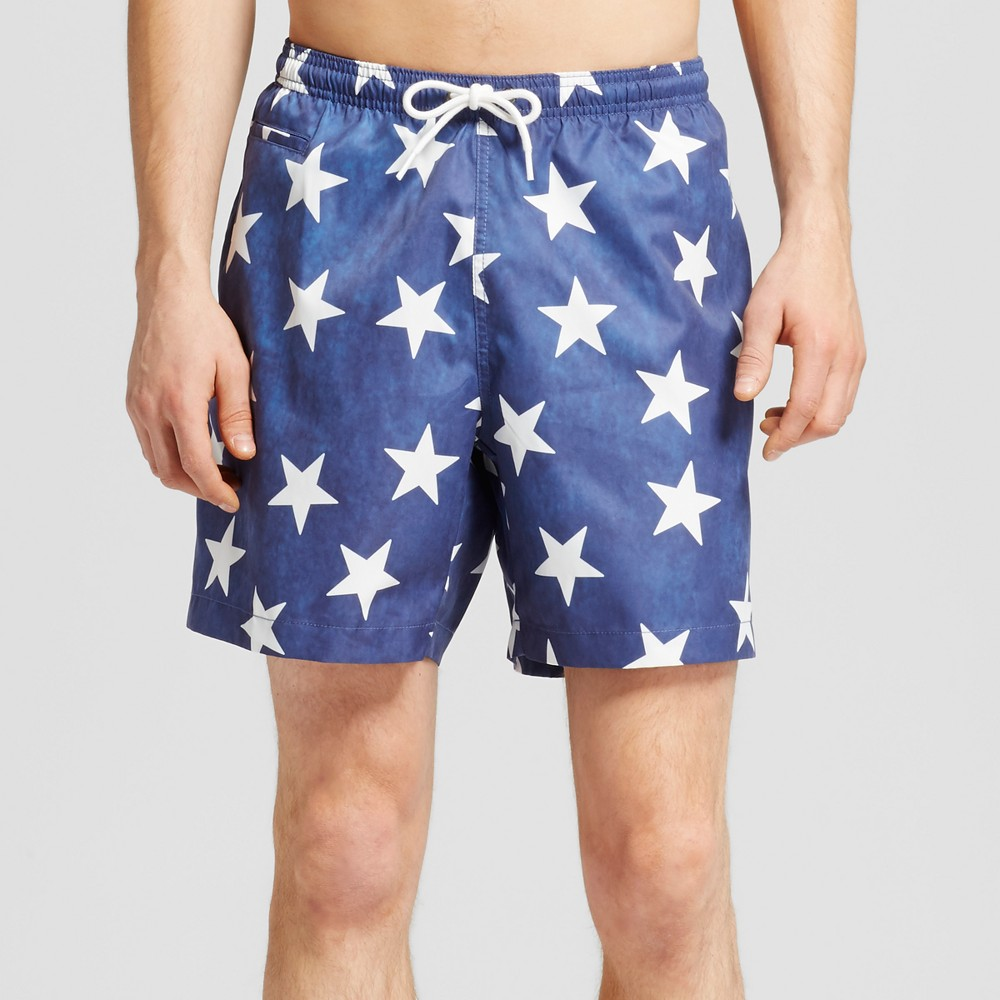 Men's Star Print Swim Trunks Blue L - Trunks Surf & Swim