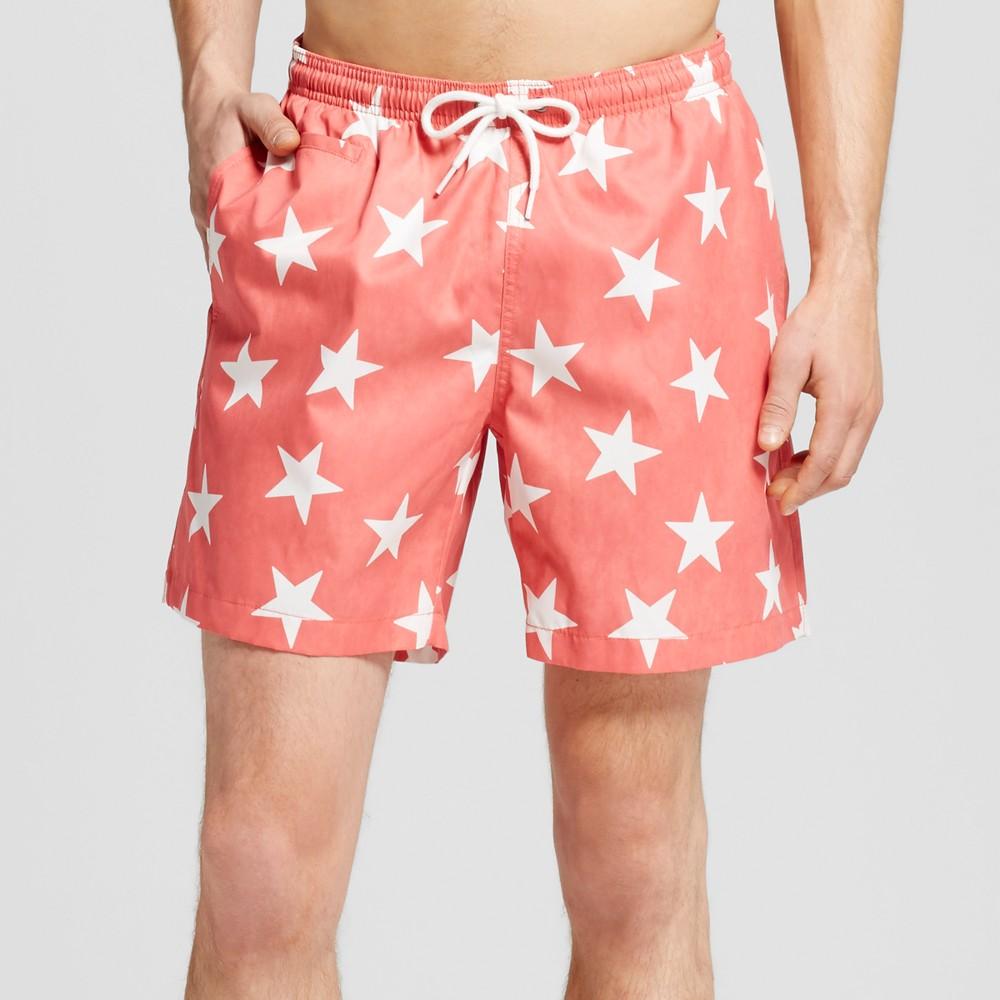 Mens Star Print Swim Trunks Coral (Pink) Xxl - Trunks Surf & Swim