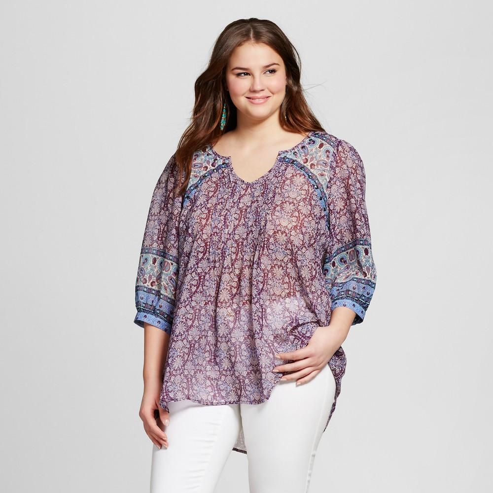 Women's Plus Size Mix Print Pintuck Blouse Multicolored 2X – Born Famous
