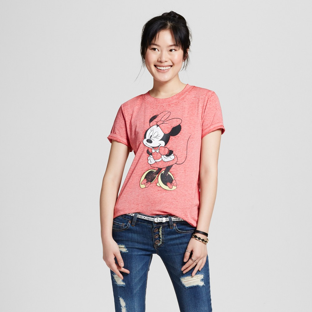 Womens Disney Minnie Mouse Wink Graphic T-Shirt Red S (Juniors)