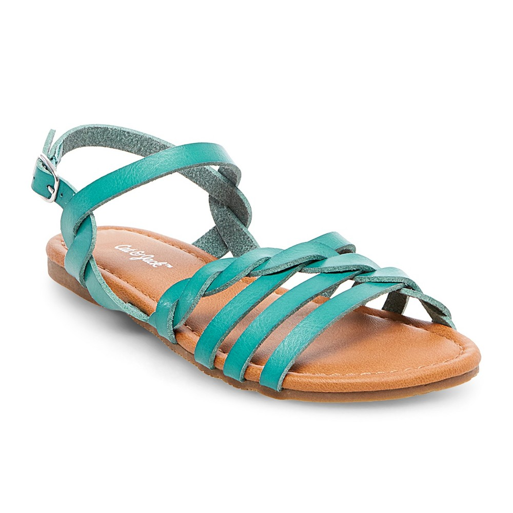 Girls' Mindy Braided Slide Sandals Cat & Jack – Turquoise 5, Girl's