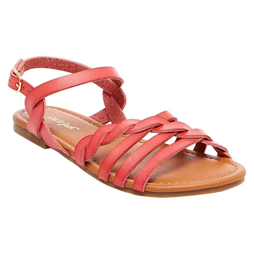 Girls Mindy Braided Slide Sandals Cat & Jack - Coral (Pink) 4