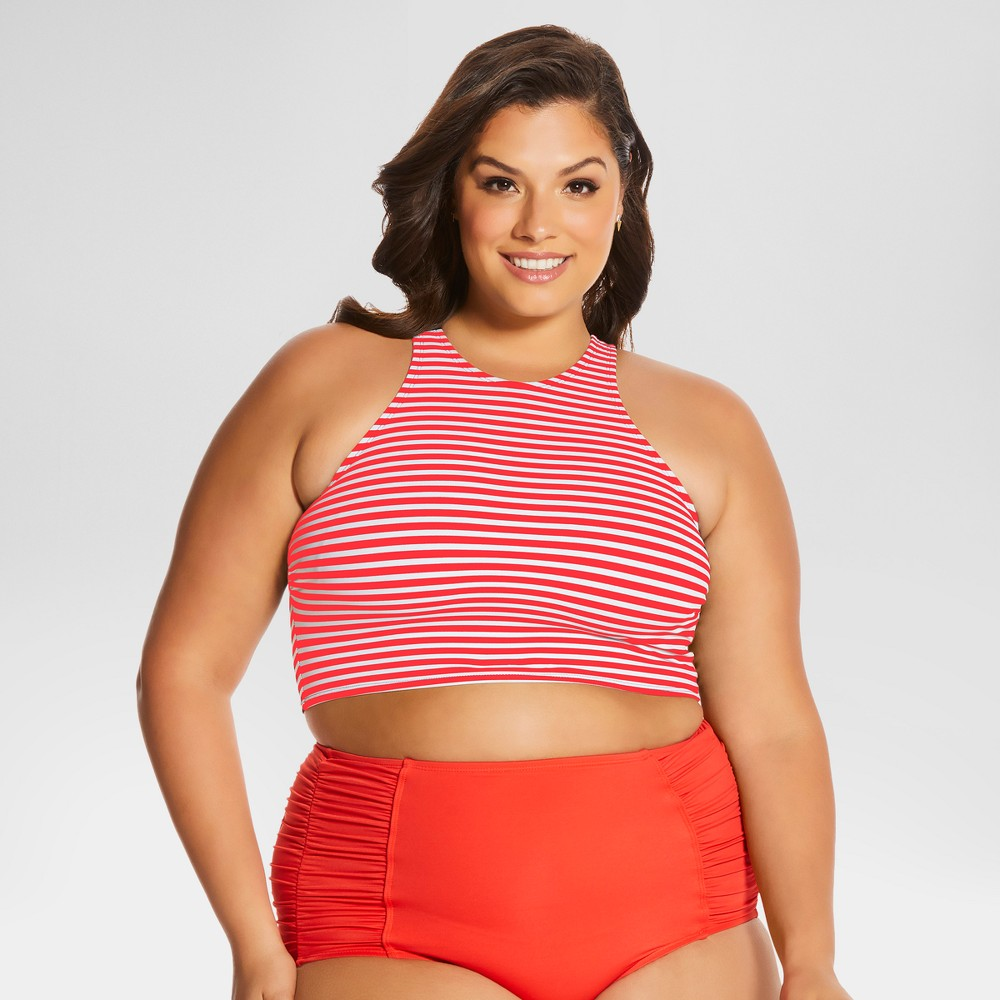 Womens Plus Size Shirley High Neck Top Red 3X - Beach Betty